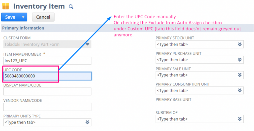 Enter a code in the UPC field