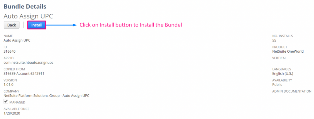 Display the Bundle Details page